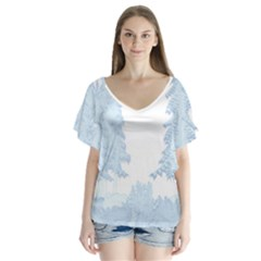 Winter Snow Trees Forest Flutter Sleeve Top