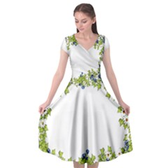 Birthday Card Flowers Daisies Ivy Cap Sleeve Wrap Front Dress