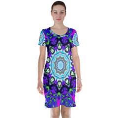 Graphic Isolated Mandela Colorful Short Sleeve Nightdress