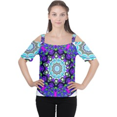 Graphic Isolated Mandela Colorful Women s Cutout Shoulder Tee