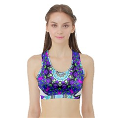 Graphic Isolated Mandela Colorful Sports Bra With Border