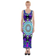 Graphic Isolated Mandela Colorful Fitted Maxi Dress