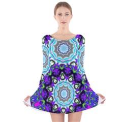 Graphic Isolated Mandela Colorful Long Sleeve Velvet Skater Dress