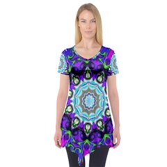 Graphic Isolated Mandela Colorful Short Sleeve Tunic