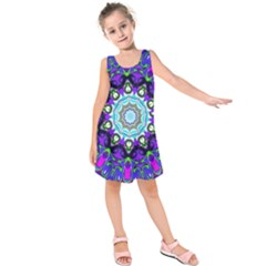 Graphic Isolated Mandela Colorful Kids  Sleeveless Dress