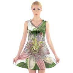 Passion Flower Flower Plant Blossom V Neck Sleeveless Skater Dress