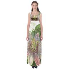 Passion Flower Flower Plant Blossom Empire Waist Maxi Dress