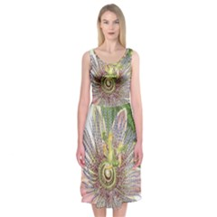 Passion Flower Flower Plant Blossom Midi Sleeveless Dress