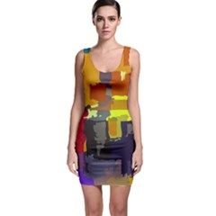 Abstract Vibrant Colour Sleeveless Bodycon Dress