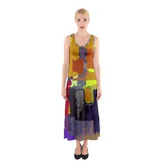 Abstract Vibrant Colour Sleeveless Maxi Dress
