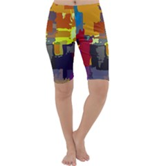 Abstract Vibrant Colour Cropped Leggings