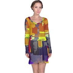 Abstract Vibrant Colour Long Sleeve Nightdress