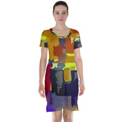 Abstract Vibrant Colour Short Sleeve Nightdress