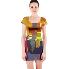 Abstract Vibrant Colour Short Sleeve Bodycon Dress