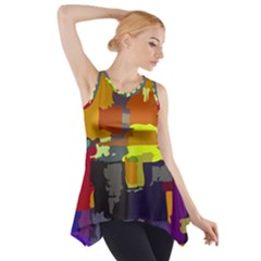 Abstract Vibrant Colour Side Drop Tank Tunic