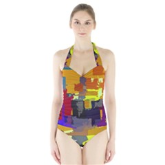 Abstract Vibrant Colour Halter Swimsuit
