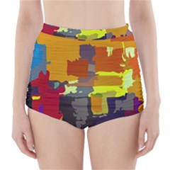 Abstract Vibrant Colour High-Waisted Bikini Bottoms