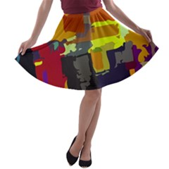 Abstract Vibrant Colour A Line Skater Skirt
