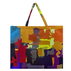 Abstract Vibrant Colour Zipper Large Tote Bag