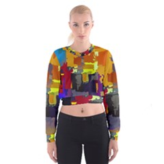 Abstract Vibrant Colour Cropped Sweatshirt