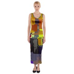 Abstract Vibrant Colour Fitted Maxi Dress