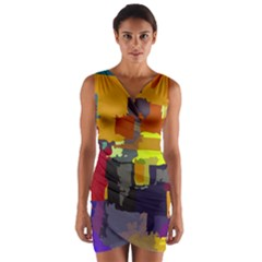 Abstract Vibrant Colour Wrap Front Bodycon Dress