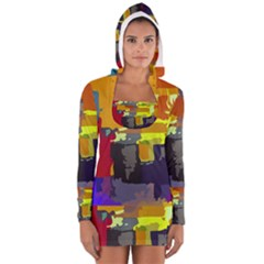 Abstract Vibrant Colour Women s Long Sleeve Hooded T-shirt