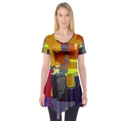Abstract Vibrant Colour Short Sleeve Tunic