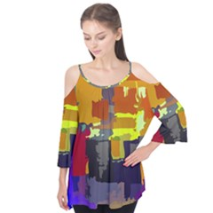 Abstract Vibrant Colour Flutter Tees