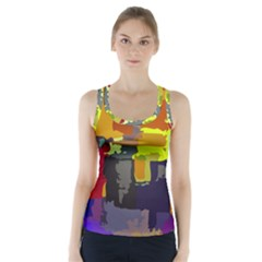 Abstract Vibrant Colour Racer Back Sports Top