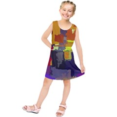 Abstract Vibrant Colour Kids  Tunic Dress