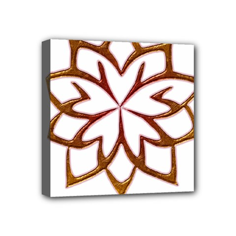 Abstract Shape Outline Floral Gold Mini Canvas 4  X 4