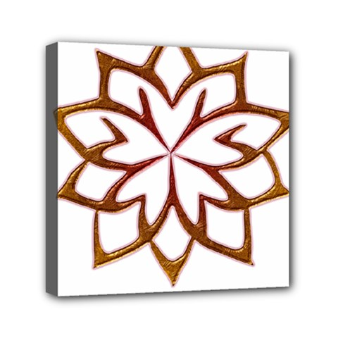 Abstract Shape Outline Floral Gold Mini Canvas 6  X 6
