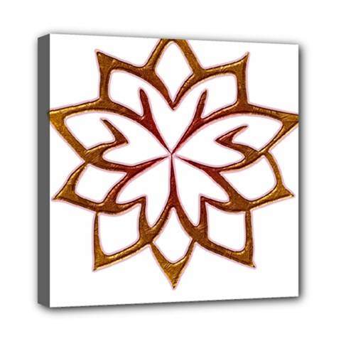 Abstract Shape Outline Floral Gold Mini Canvas 8  X 8
