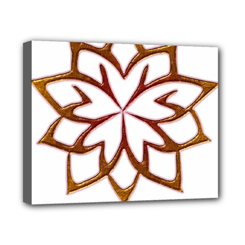 Abstract Shape Outline Floral Gold Canvas 10  X 8