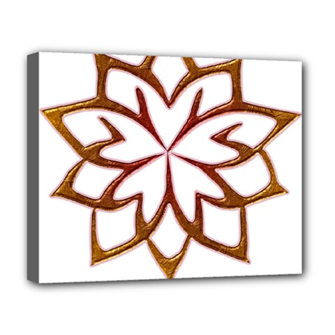 Abstract Shape Outline Floral Gold Deluxe Canvas 20  X 16
