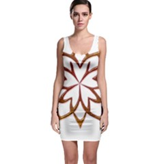 Abstract Shape Outline Floral Gold Sleeveless Bodycon Dress