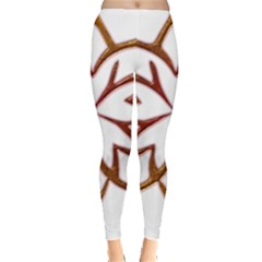 Abstract Shape Outline Floral Gold Leggings
