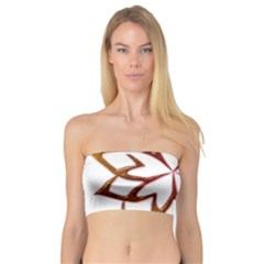 Abstract Shape Outline Floral Gold Bandeau Top