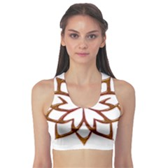 Abstract Shape Outline Floral Gold Sports Bra