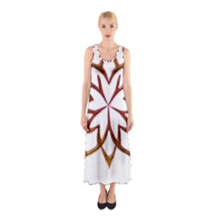 Abstract Shape Outline Floral Gold Sleeveless Maxi Dress