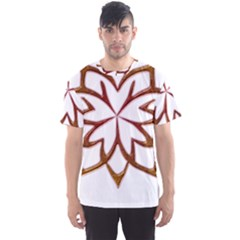 Abstract Shape Outline Floral Gold Men s Sport Mesh Tee