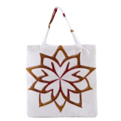 Abstract Shape Outline Floral Gold Grocery Tote Bag