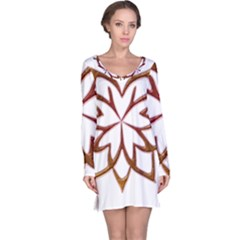 Abstract Shape Outline Floral Gold Long Sleeve Nightdress