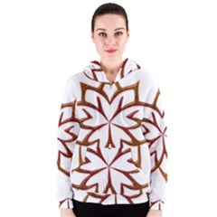 Abstract Shape Outline Floral Gold Women s Zipper Hoodie