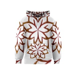 Abstract Shape Outline Floral Gold Kids  Zipper Hoodie