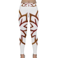 Abstract Shape Outline Floral Gold Classic Yoga Leggings