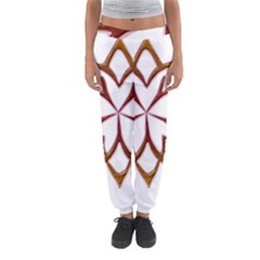 Abstract Shape Outline Floral Gold Women s Jogger Sweatpants