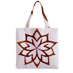 Abstract Shape Outline Floral Gold Zipper Grocery Tote Bag