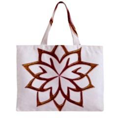 Abstract Shape Outline Floral Gold Zipper Mini Tote Bag